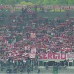 Ancona: Elmo trojano sul due aste, Curva Nord a Roma 2004