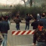Roma: uno skinhead durante gli incidenti per la partita contro il Milan al Flaminio 1989/90