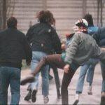 Prato: skin in azione nella partita A.C. PRATO vs Livorno 1988/89