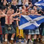 Tartan Army in high spirits in Trafalgar Square